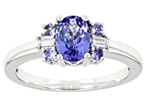 Pre-Owned Blue tanzanite sterling silver ring 0.91ctw
