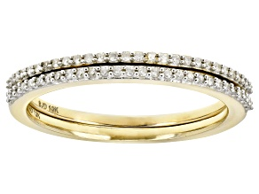 Pre-Owned White Diamond 10k Yellow Gold Set of 2 Stackable Bands .15ctw