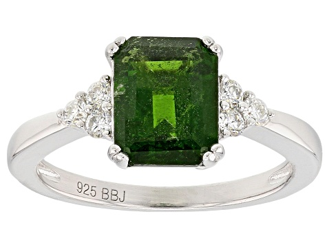Pre-Owned Green Russian Chrome Diopside Sterling Silver Ring 2.13ctw