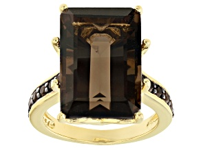 Pre-Owned Brown smoky quartz 18k yellow gold over sterling silver ring 11.52ctw