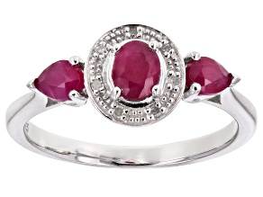 Pre-Owned Red Ruby Sterling Silver Ring .72ctw