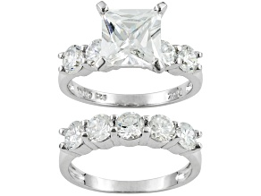Pre-Owned 7.4ctw Princess Cut White Cubic Zirconia .925 Sterling Silver Ring. 5-Stone Band