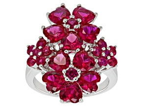 Pre-Owned Red Lab Created Ruby Sterling Silver Floral Ring 5.22ctw