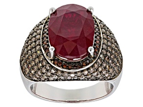 Pre-Owned Red Ruby Rhodium Over Sterling Silver Ring 8.28ctw