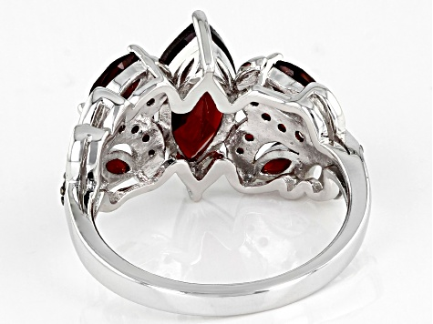 Pre-Owned Red garnet rhodium over sterling silver ring 2.44ctw