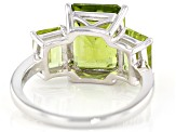 Pre-Owned Green Peridot Rhodium Over Sterling Silver 3-Stone Ring 6.72ctw