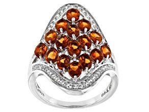 Pre-Owned Orange Mandarin Garnet Rhodium Over Silver Ring 3.04ctw