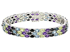 Pre-Owned Purple amethyst rhodium over silver bracelet 22.29ctw