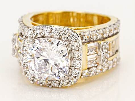 Pre-Owned White Cubic Zirconia 18K Yellow Gold Over Sterling Silver Ring 10.96ctw
