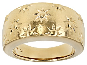 Pre-Owned 18k Yellow Gold Over Bronze Sunburst Band Ring