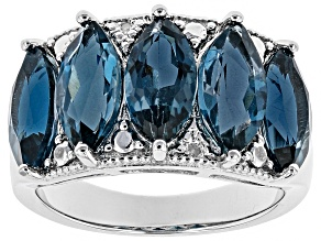 Pre-Owned London blue topaz rhodium over sterling silver band ring 5.45CTW