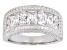 Pre-Owned Womens Band Ring Cubic Zirconia 5ctw Round Emerald Cut Platineve