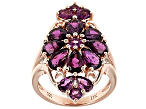 Pre-Owned Raspberry color rhodolite 18k rose gold over silver ring 5.07ctw