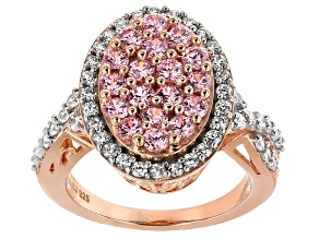 Pre-Owned Pink And White Cubic Zirconia 18k Rose Gold Over Silver Ring 3.49ctw (1.80ctw DEW)