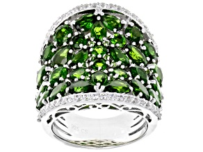 Pre-Owned Green Chrome Diopside sterling silver ring 9.02ctw