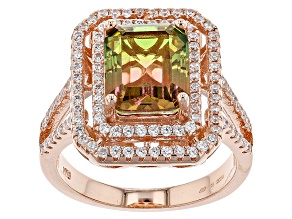 Pre-Owned Watermelon Tourmaline Simulant & White Cubic Zirconia 18k Rg Over Silver Ring 7.06ctw