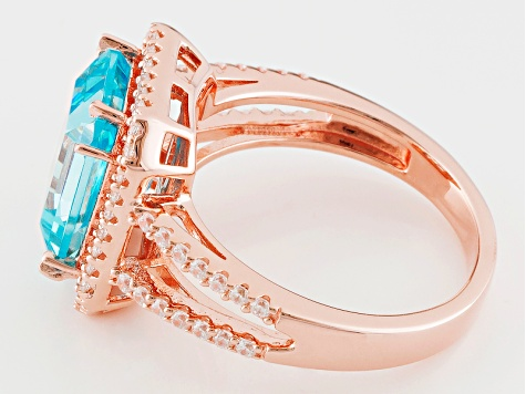 Pre-Owned Blue And White Cubic Zirconia 18k Rose Gold Over Sterling Silver Ring 7.95ctw