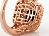 Pre-Owned Blue And White Cubic Zirconia 18k Rose Gold Over Silver Ring 5.87ctw