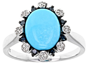 Pre-Owned Blue turquoise sterling silver ring .20ctw