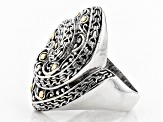 Pre-Owned Sterling Silver With 18k Gold Accent Infinity Ring