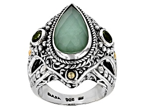 Pre-Owned Mint Chrysoprase Doublet Silver & 18kt Gold Accent Ring .56ctw
