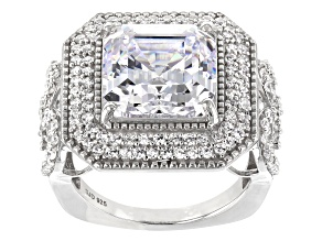 Pre-Owned White Cubic Zirconia Rhodium Over Sterling Silver Center Design Ring 13.25ctw