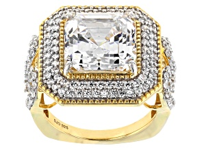 Pre-Owned White Cubic Zirconia 18K Yellow Gold Over Sterling Silver Center Design Ring 13.52ctw