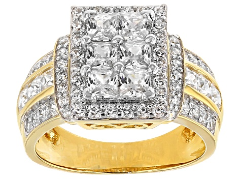 Pre-Owned Cubic Zirconia 18k Yellow Gold Over Silver Ring 3.26ctw (2.44ctw DEW)