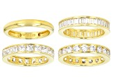 Pre-Owned White Cubic Zirconia 18k Yg Over Sterling Silver Rings Set Of 4 10.73ctw