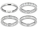 Pre-Owned White Cubic Zirconia Sterling Silver Bands, Set Of 4 10.73ctw