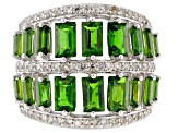Pre-Owned Green Russian chrome diopside sterling silver band ring 3.51ctw