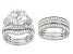 Pre-Owned White Cubic Zirconia Rhodium Over Silver Ring With Two Guards & Band 11.71ctw