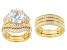 Pre-Owned White Cubic Zirconia 18k Yellow Gold Over Sterling Silver Ring With Two Guards & Band