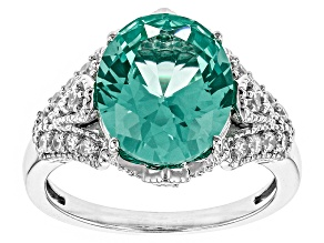 Pre-Owned Synthetic Green Spinel And White Cubic Zirconia Silver Ring 5.42ctw