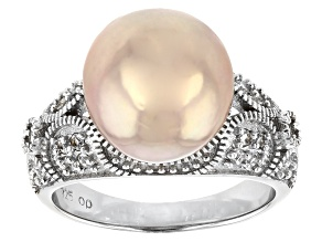 Pre-Owned Cultured Freshwater Pearl And White Topaz Rhodium Over Sterling Silver Ring 11-12mm
