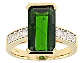 Pre-Owned Green Chrome Diopside 14k Yellow Gold Ring 5.54ctw.