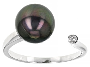Pre-Owned Cultured Tahitian Pearl With Topaz Rhodium Over Sterling Silver Ring 10mm