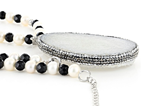 Pre-Owned Cultured Freshwater Pearl, Quartz, Onyx And Cubic Zirconia Sterling Silver Necklace With E