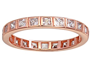Pre-Owned Bella Luce® 1.40ctw Princess Diamond Simulant 18k Rose Gold Over Silver Ring