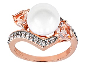 Pre-Owned 9-9.5mm Cultured Freshwater Pearl With Morganite And Zircon 18k Rose Gold Over Silver Ring