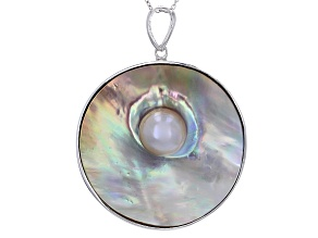 Pre-Owned 30mm Cultured Mabe Pearl Rhodium Over Silver Pendant With 24 Inch Cable Chain