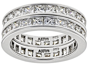 Pre-Owned Bella Luce 5ctw Princess Cut Cz .925 Sterling Silver Eternity Band Ring Set
