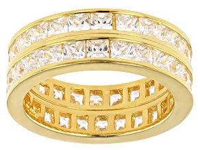 Pre-Owned Bella Luce 5ctw Princess Cut Cz 18k Gold Over .925 Silver Eternity Band Ring Set