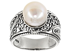 Pre-Owned Cultured Freshwater Pearl Rhodium Over Silver Ring 9.5-10mm