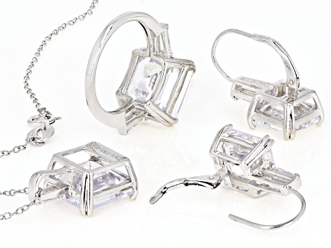 Pre-Owned white cubic zirconia rhodium over sterling silver jewelry set 40.65ctw