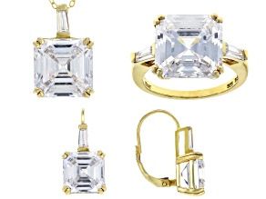 Pre-Owned white cubic zirconia 18k yellow gold over sterling silver jewelry set 40.65ctw