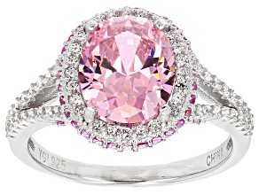 Pre-Owned Pink And White Cubic Zirconia Rhodium Over Sterling Silver Ring 5.48ctw
