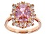 Pre-Owned Pink And White Cubic Zirconia 18k Rose Gold Over Sterling Silver Ring 8.48ctw