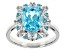 Pre-Owned Blue And White Cubic Zirconia Rhodium Over Sterling Silver Ring 8.48ctw