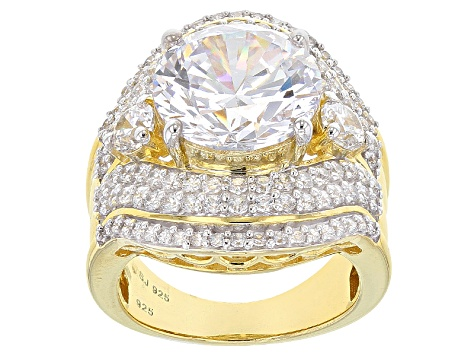 Pre-Owned Cubic Zirconia 18k Yellow Gold Over Silver Ring 15.53ctw (8.75ctw DEW)